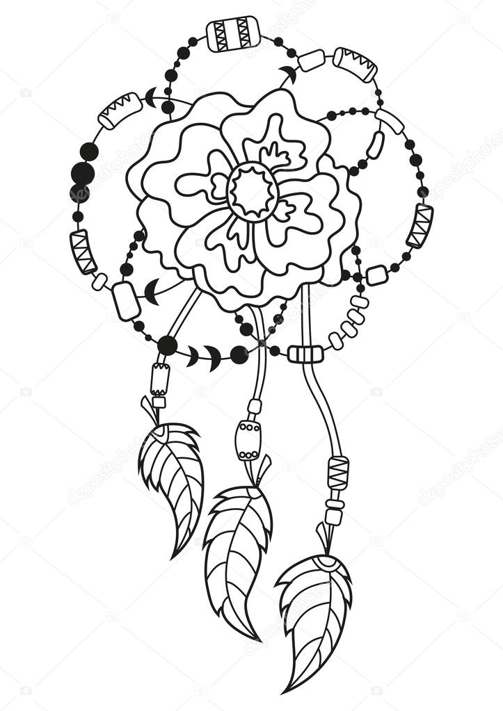 Vector boho flower with feathers, Pattern for coloring book