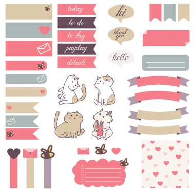 Cute cats and heart pattern in pastel color
