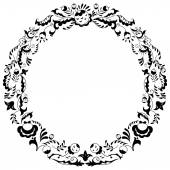 Round Black And White Border Frame With Doodle Leaves