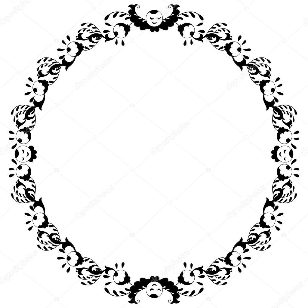 Préférence rond noir et blanc bordure avec doodle fleurs — Image vectorielle  OB01