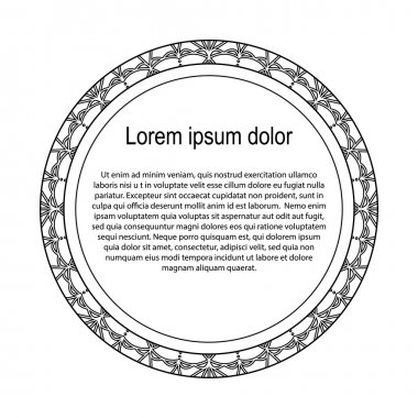 Round black and white border frame with doodle flowers