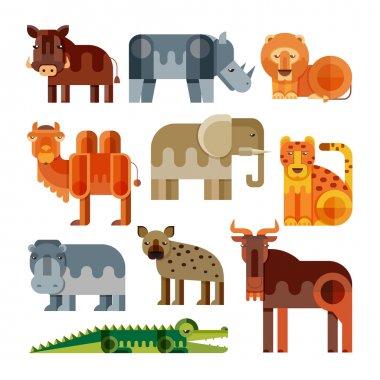 Geometric flat Africa animals.
