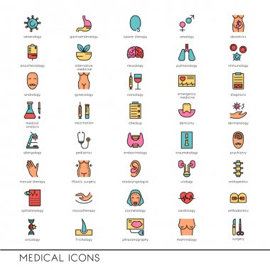 Vector flat line icons with medical symbols specialization