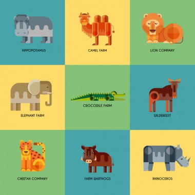 Vector set of different geometric flat african animals icons