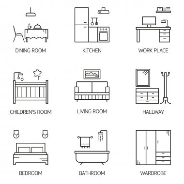 Set of line vector interior design room types icons.