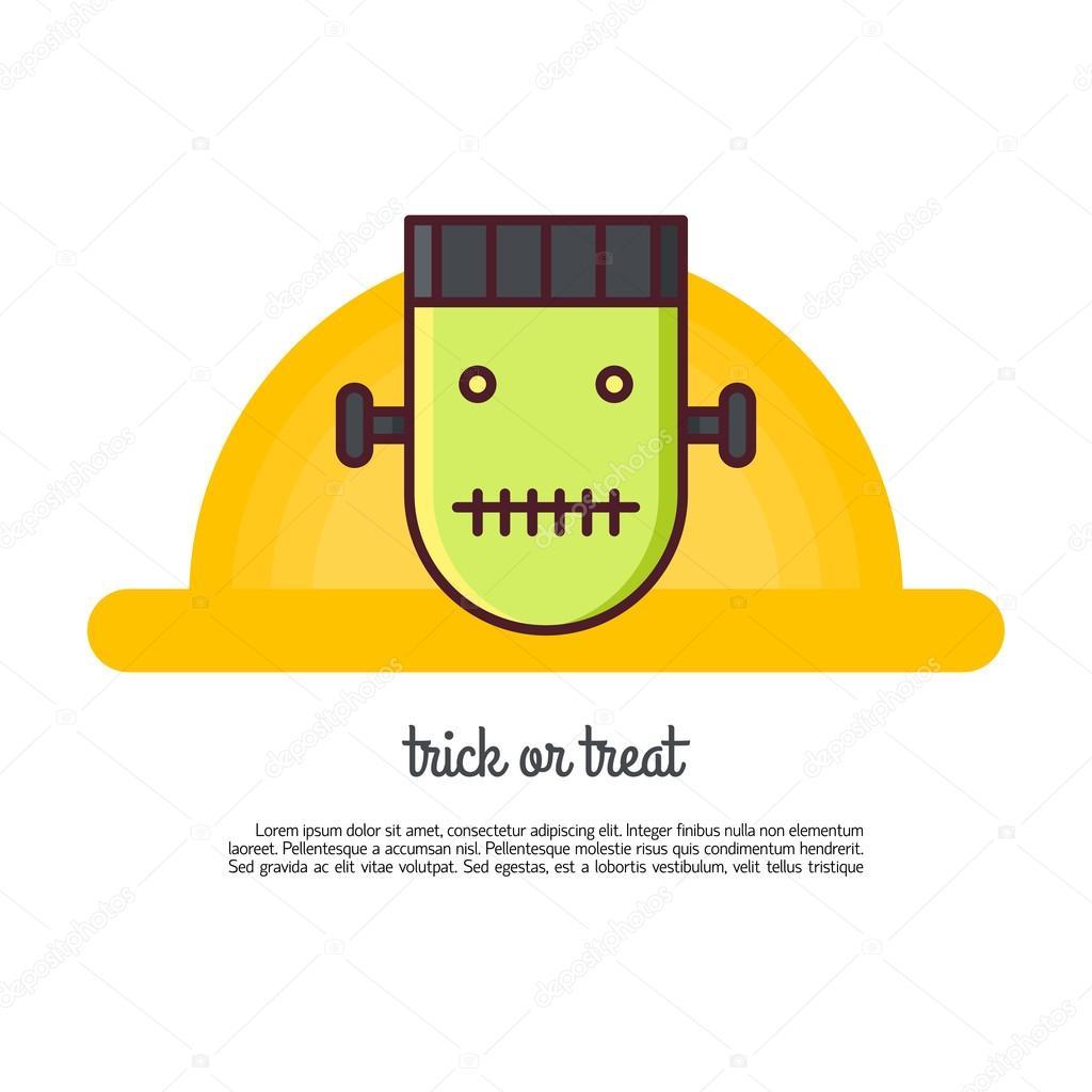 Illustration Of Symbols Frankenstein Icon Halloween Concept Mad