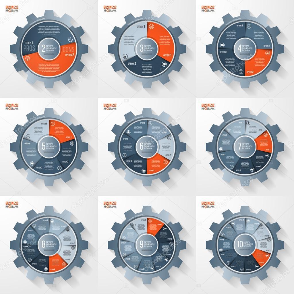 Vektor-Wirtschaft und Industrie Getriebe Kreis Infographik ...