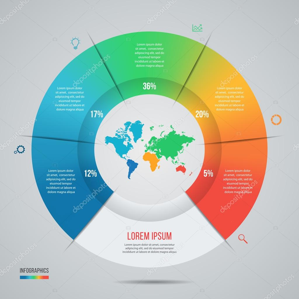 Vector pie chart template for graphs charts diagrams stock vector pie chart template for graphs charts diagrams business circle infographic concept with world map with 5 options parts steps processes gumiabroncs Images