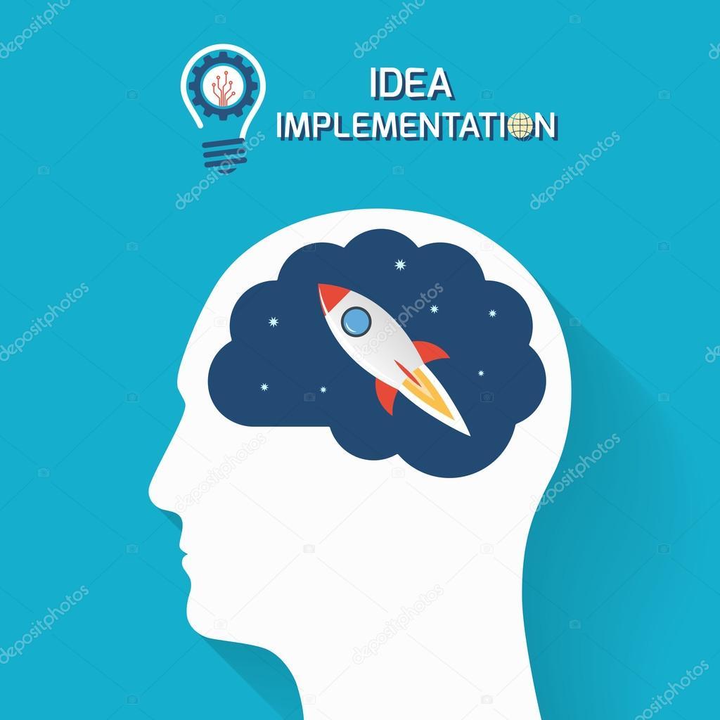 Idea implementación y puesta en marcha concepto de negocio. Cabeza ...