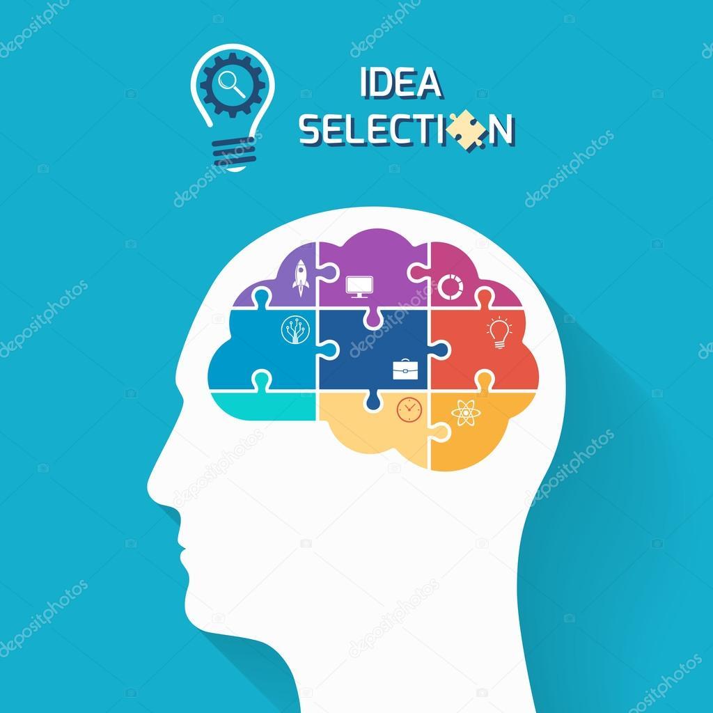 Concepto negocio arranque y selección de idea. Cabeza humana con ...