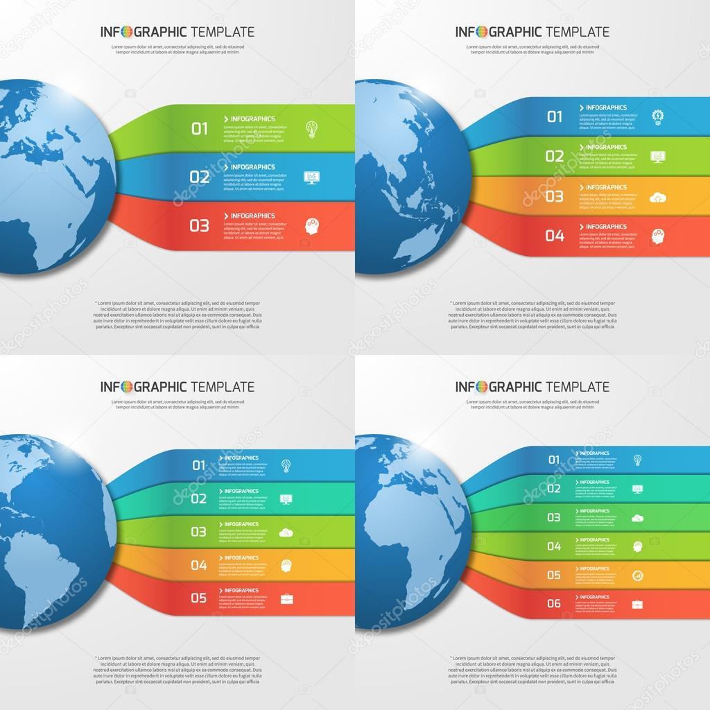 Infografik-Vorlagen mit Globus mit 3, 4, 5, 6 Möglichkeiten, Teile ...
