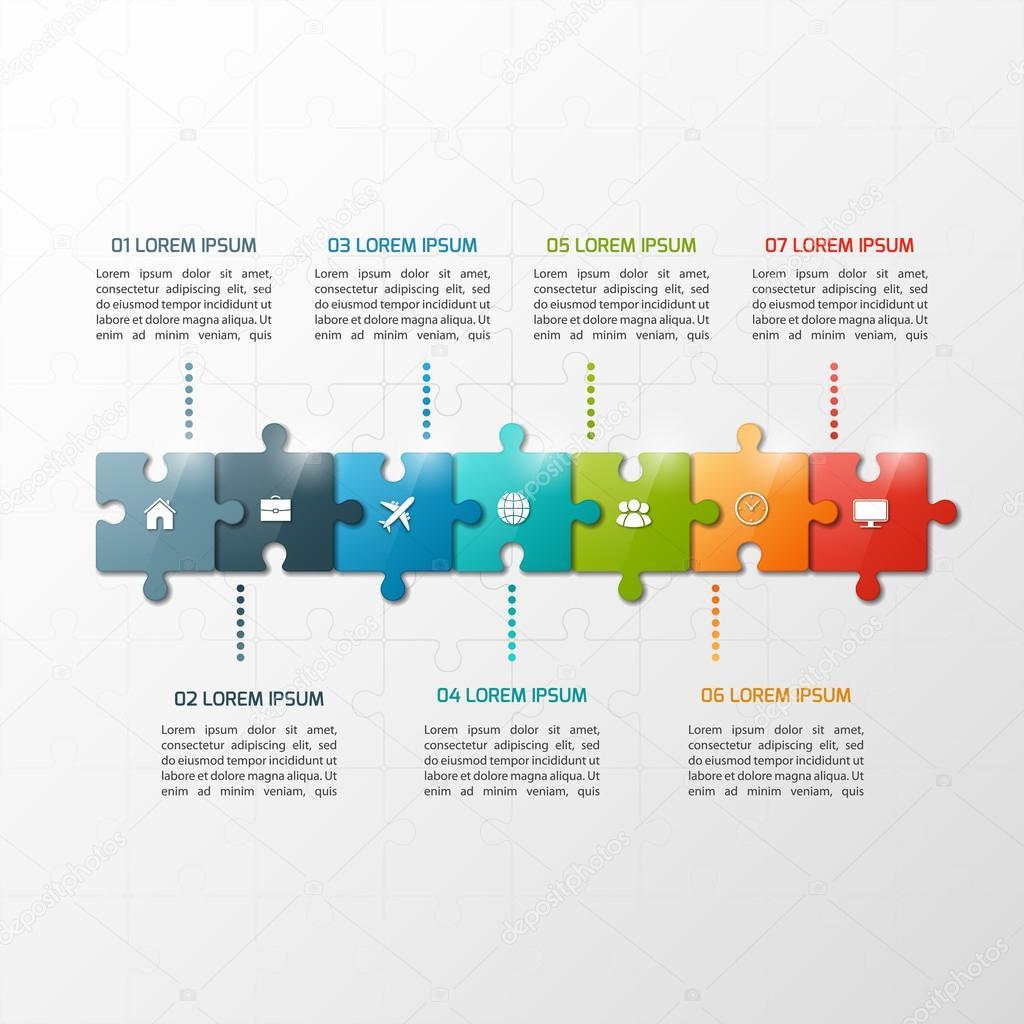 Vector plantilla infografía rompecabezas estilo línea de tiempo de 7 ...