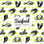 Fényképek Kézzel rajzolt tengeri Seamless Pattern