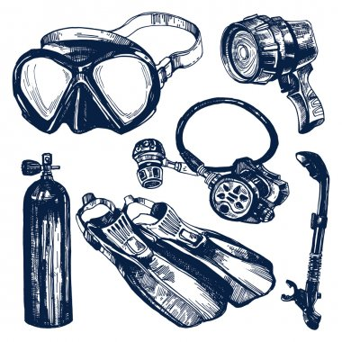 Scuba Diving Equipment Sketch Set.