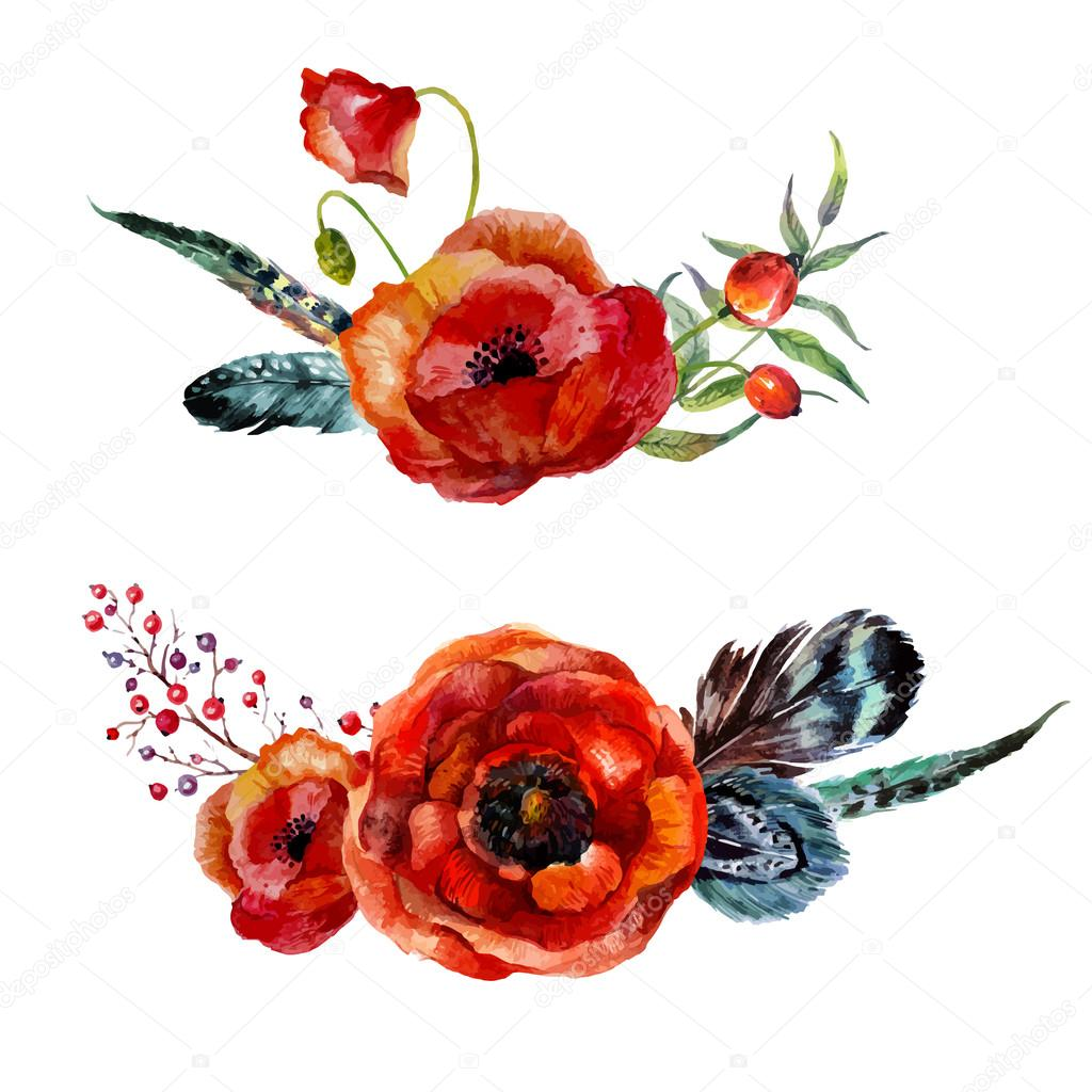 Watercolor flowers bouquet — Stock Vector © Sinna-Nyan #108783046
