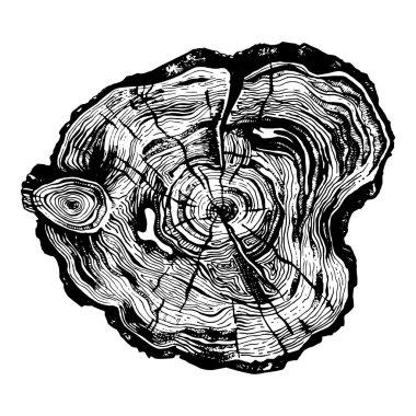 Hand drawn wood cut