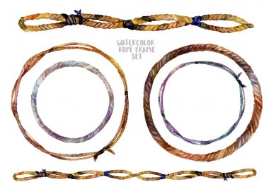 Watercolor braided rope frames set