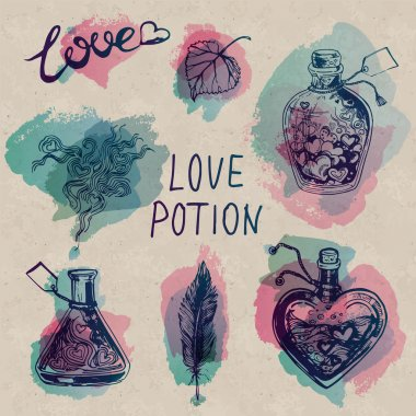 Watercolor Love Potion Set on Craft Paper Background