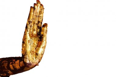 Buddha right hand isolated on white