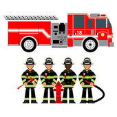hasičský vůz a hasič