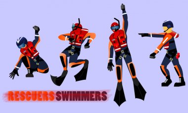 Rescuers swimmers. Team rescue. Set rescuers.