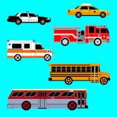 Photo Set of the car icons in vector. Taxi, police car, fire truck, ambulance, school bus, city bus