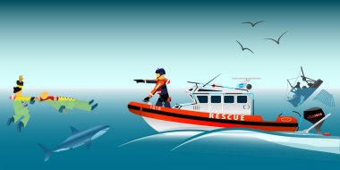 Rescue boat and fishermen at sea. The collapse of the sea. A sinking ship. Shark. Fishing net. Rescue at sea. Lifeguard boat. Swimmer