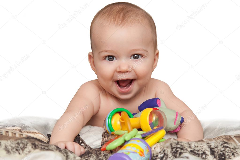 Laughing Child 5 Month Old With Toys Stock Photo C Orca7 Mail Ru