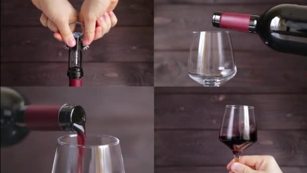 Vývrtka otevření láhve vína, nalil do sklenice, červené víno sommelier je ochutnávka červeného vína. Multiscreen záběry