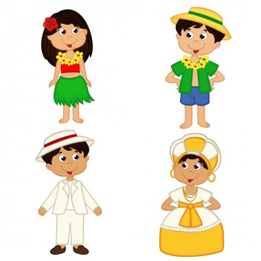 set of isolated children of Hawaii and Brazil nationalities