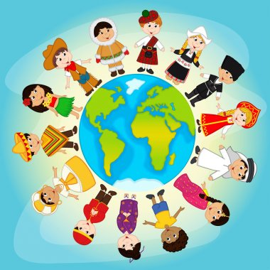 Multicultural people on planet Earth - vector illustration, eps stock vector