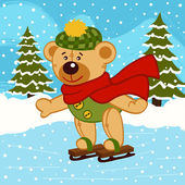 Photo teddy bear on ice skates