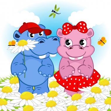 hippo boy gives flower girl