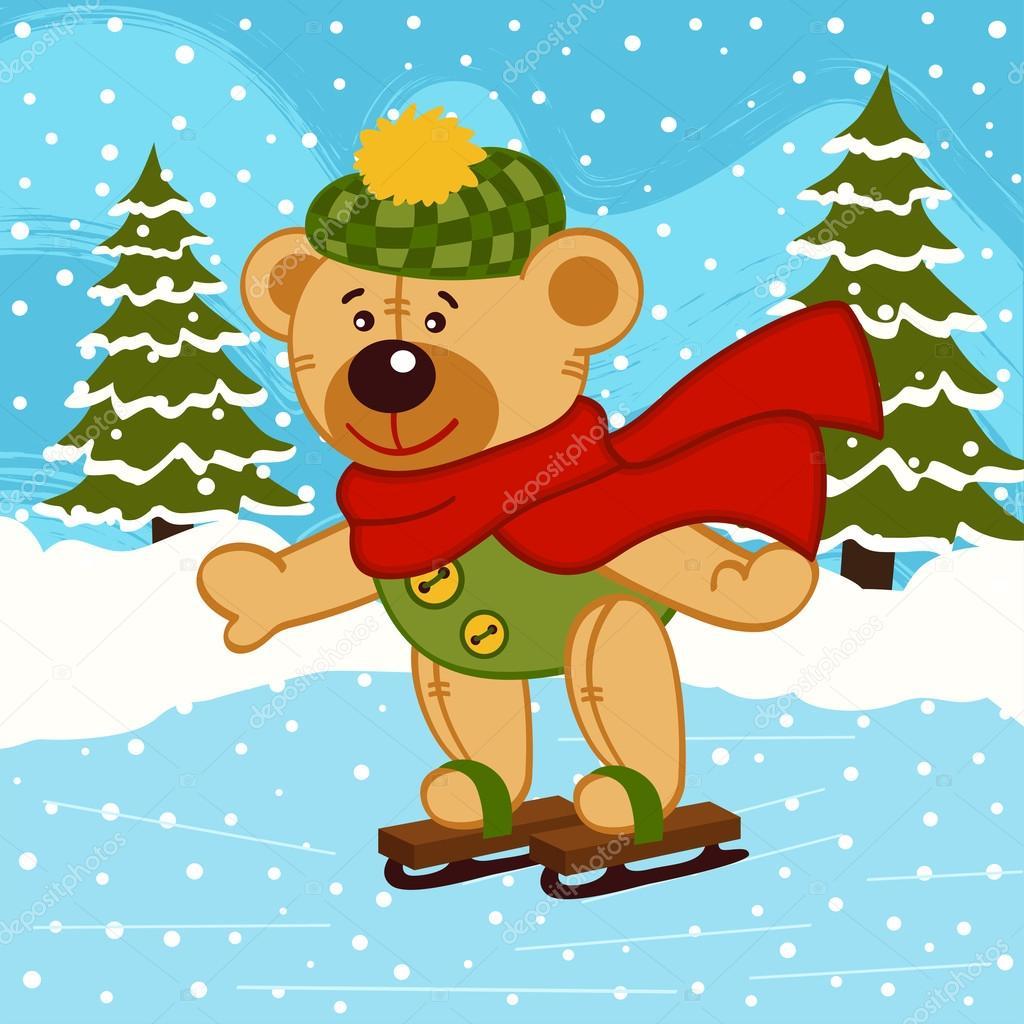 Медвежонок на коньках картинки для детей