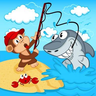 monkey on fishing vector