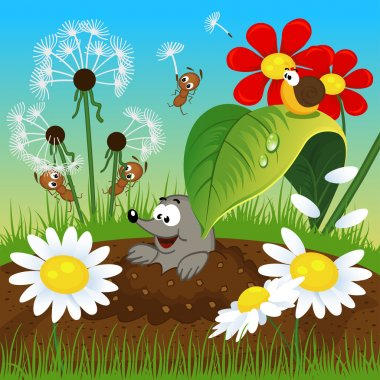 mole in the ground and insects