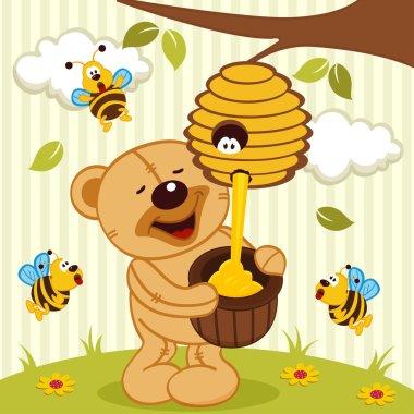 teddy bear takes honey bees