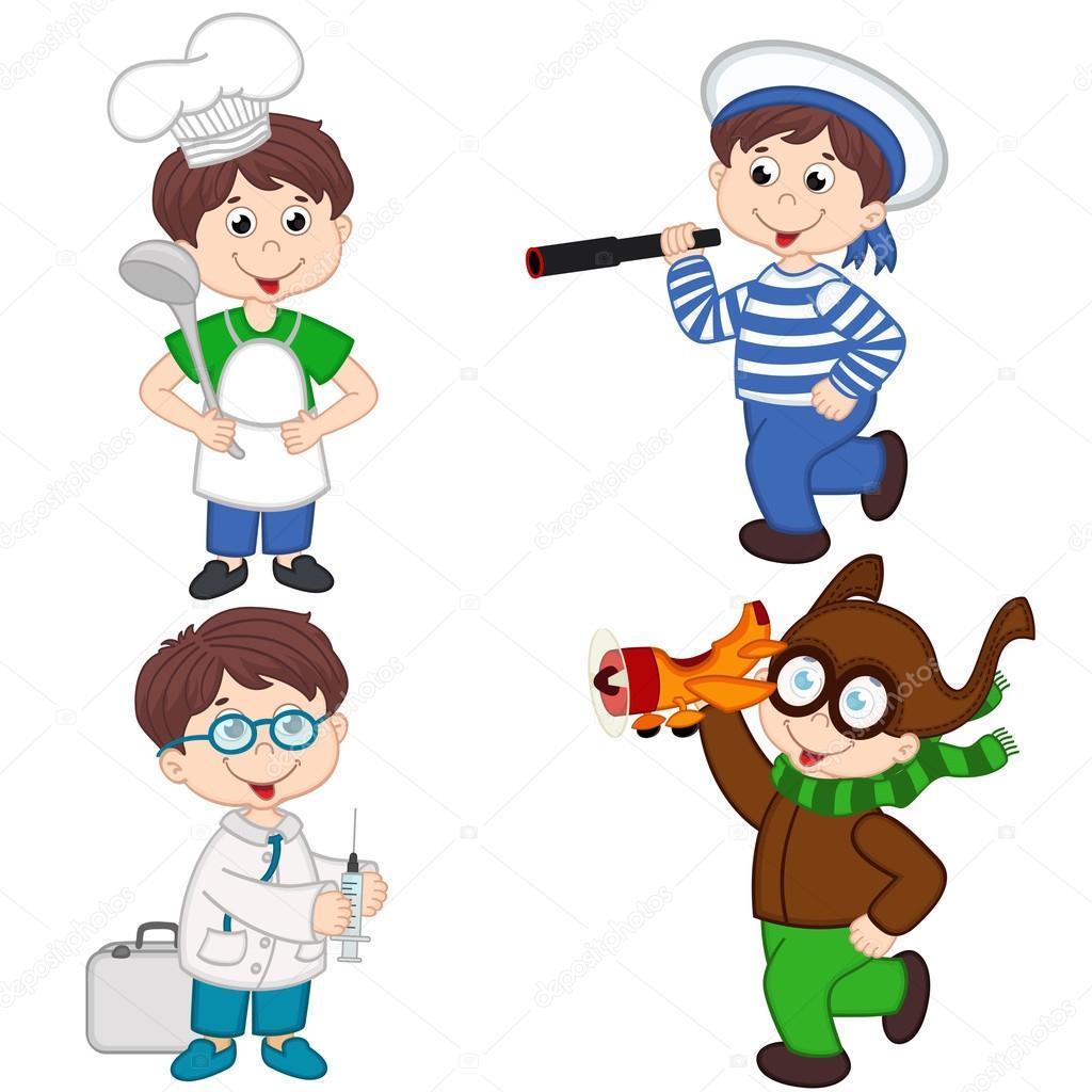 Niño En Diversos Oficios Cocinero, Marinero, Médico, Piloto