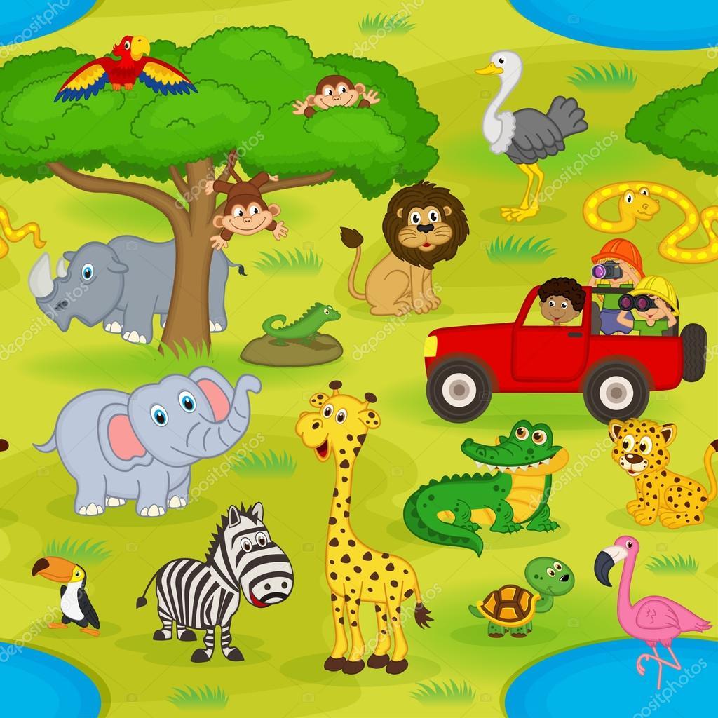 seamless pattern with animals in safari
