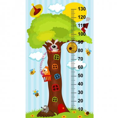 Tree house height measure (in original proportions 1:4)- vector illustration, eps clip art vector