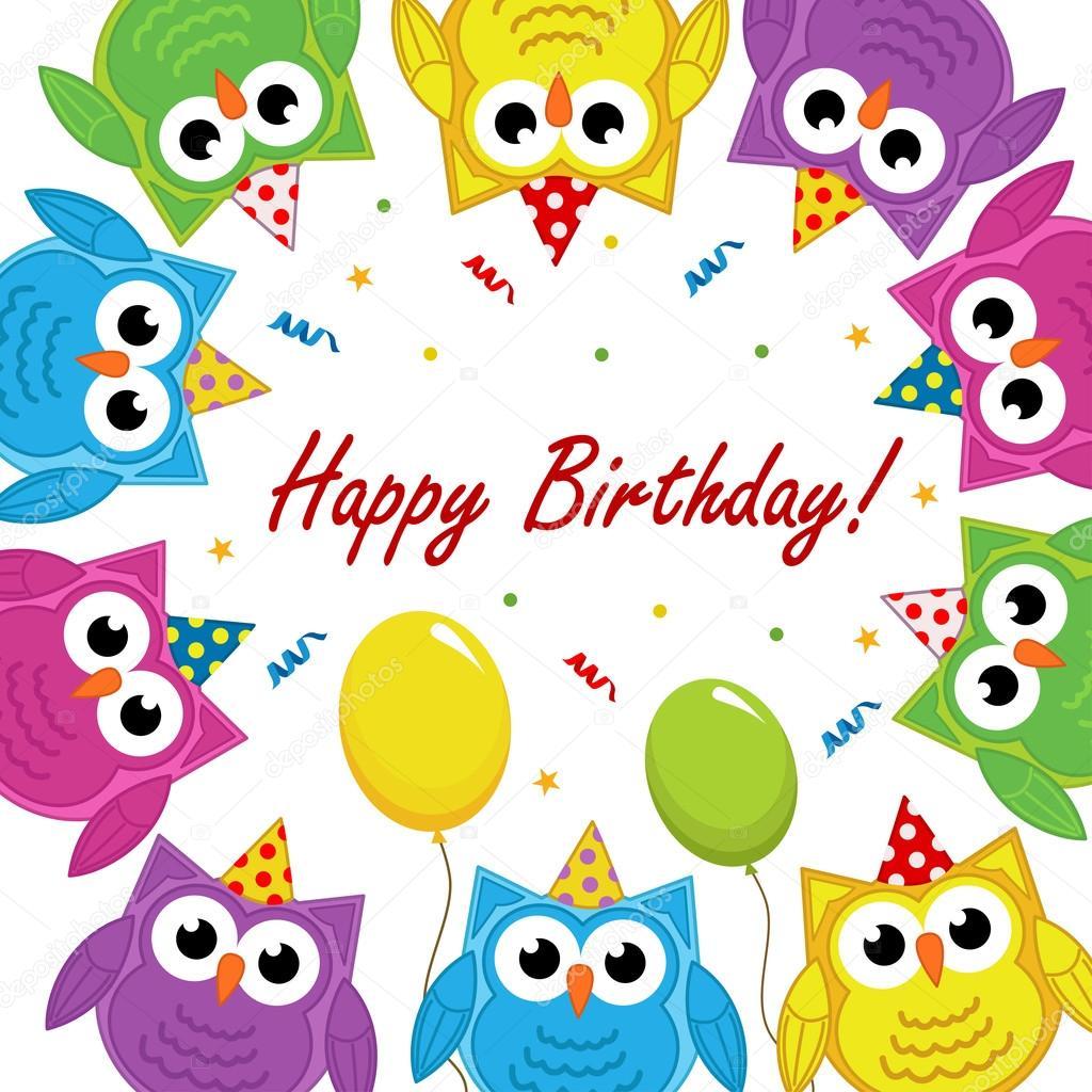 bilder till födelsedagskort Födelsedagskort med ugglor — Stock Vektor © nkiseleva1.gmail. bilder till födelsedagskort