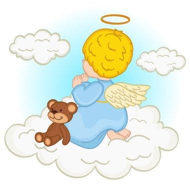 angel baby boy on cloud