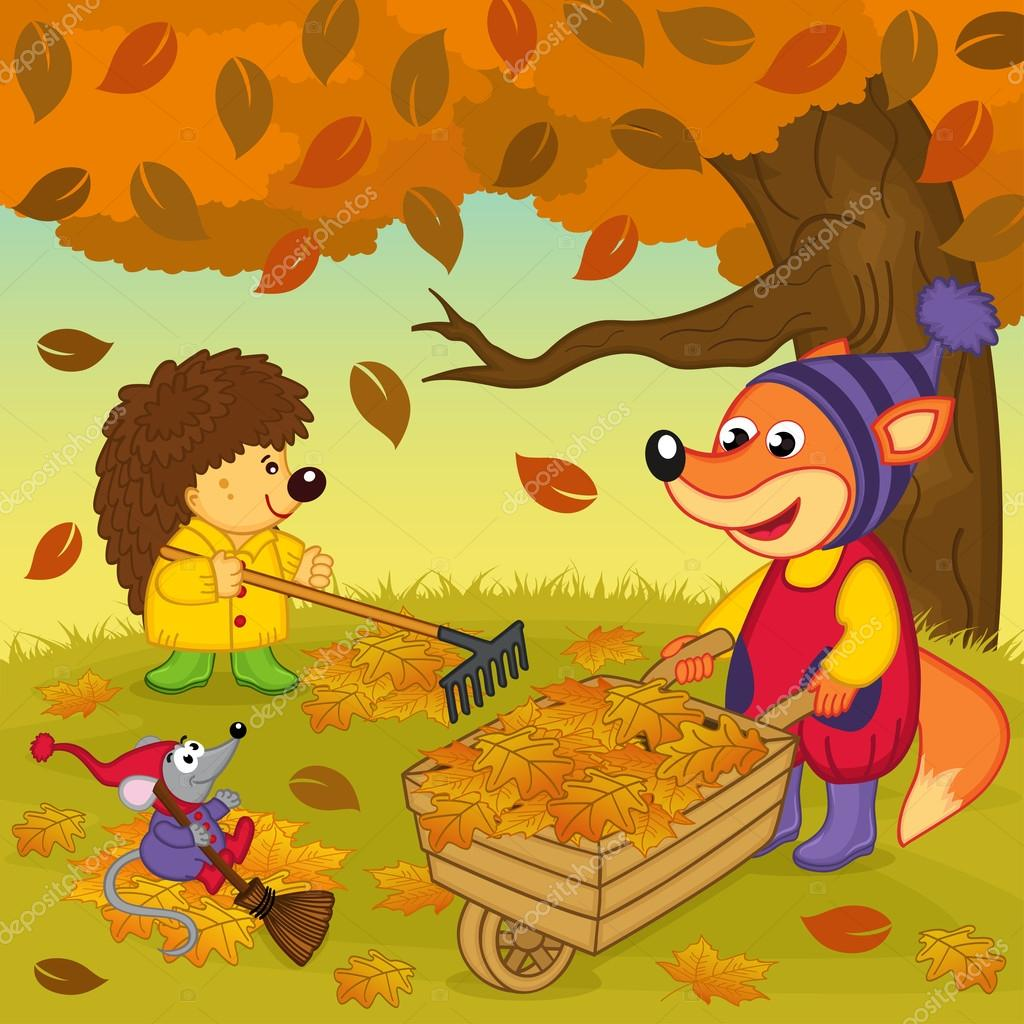 animals cleans  leaves in  forest