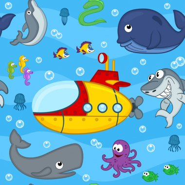seamless pattern undersea world