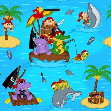 seamless pattern with animals pirates
