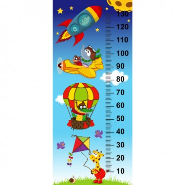 Sky height measure(in original proportions 1:4) - vector illustration, eps stock vector