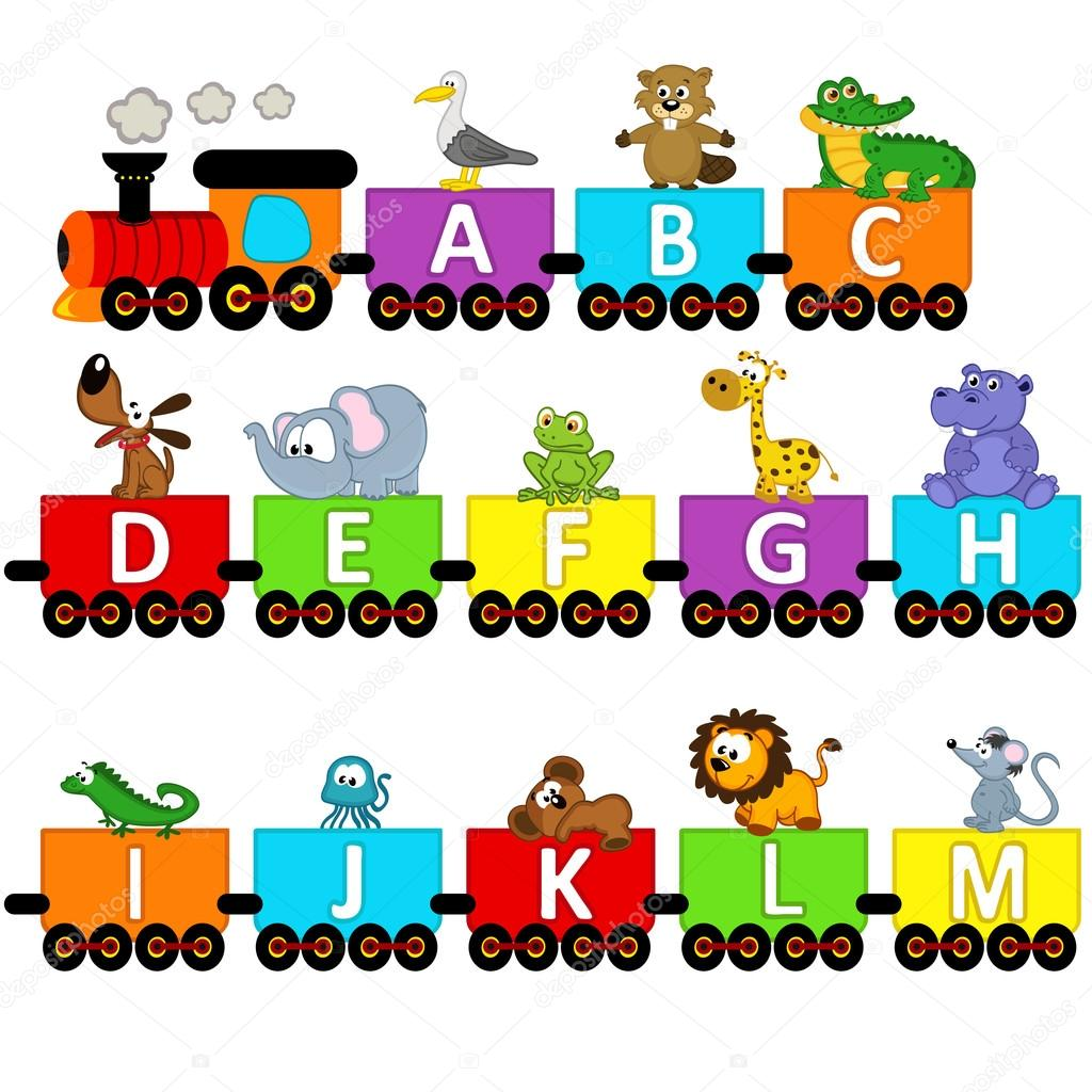 alphabet train animals from A to M