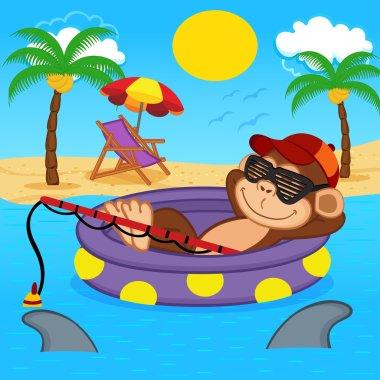 monkey fishing on sea