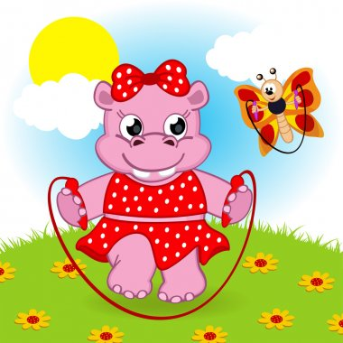 hippo and butterfly jumping rope
