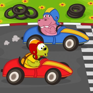 animals in a car racing